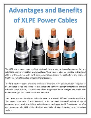Advantages and Benefits of XLPE Power Cables