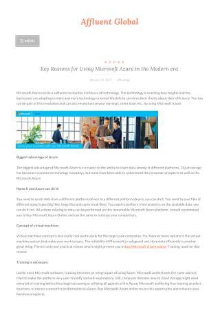 Key Reasons for Using Microsoft Azure in the Modern era