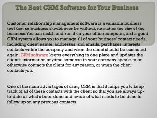The Best CRM Software for Your Business