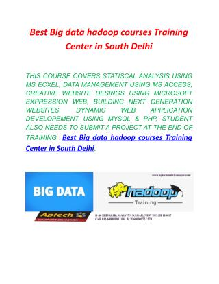 Best Big data hadoop courses Training Center in South Delhi