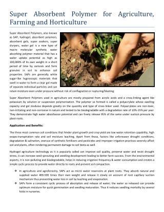 Super Absorbent Polymer for Agriculture Farming Horticulture - Alsta Hydrogel