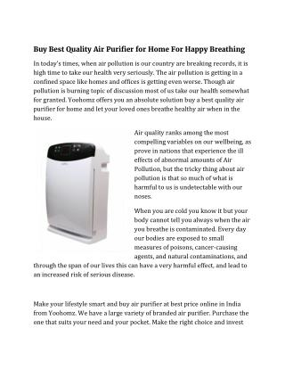 Buy Best Quality Air Purifier for Home For Happy Breathing