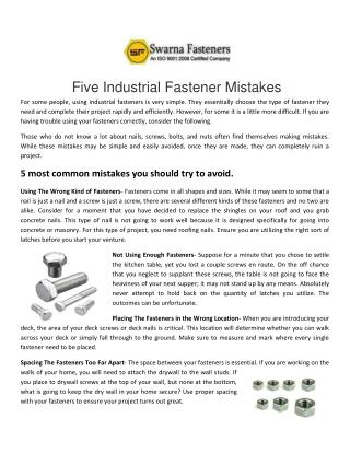 Fasteners Manufacturers, Suppliers India