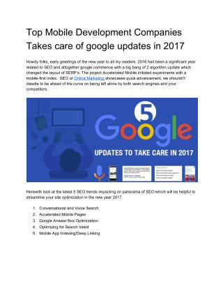 Top Mobile Development Companies Takes care of google updates in 2017