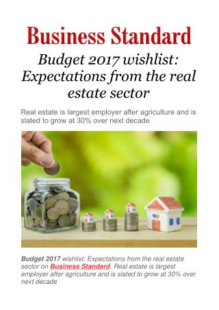 Budget 2017 wishlist: Expectations from the real estate sector