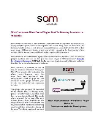WooCommerce WordPress Plugin: Best To Develop Ecommerce Websites