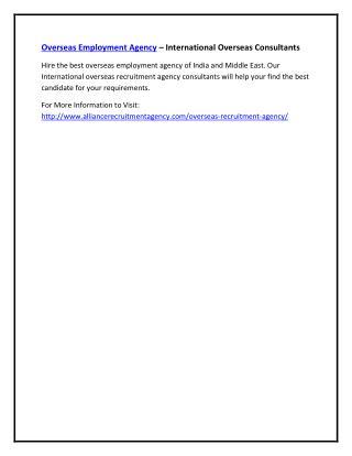 Overseas Employment Agency – International Overseas Consultants