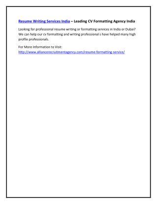 Resume Writing Services India – Leading CV Formatting Agency India