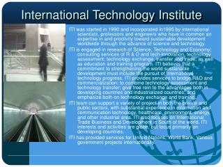 International Technology Institute