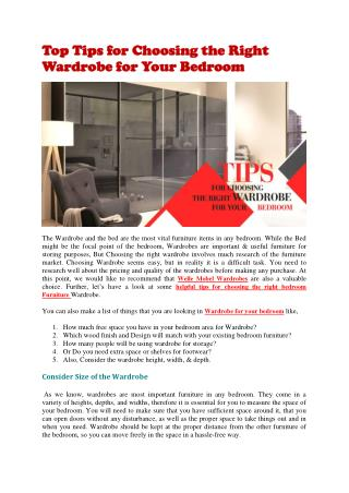 Welle Mobel Wardrobes -Tips to Choose Right Wardrobes for Bedroom