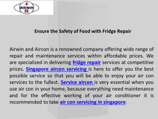 Ensure the safety of food with fridge repair - Airwin Aircon