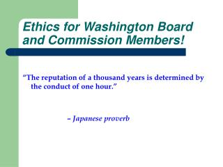 Ethics for Washington Board and Commission Members