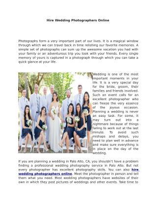 Hire Wedding Photographers Online