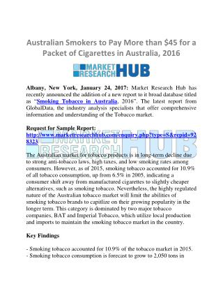 Australian Tobacco Market Research Report and Future Market Trends 2016
