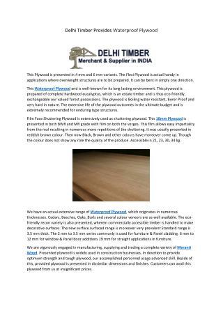 Delhi Timber Provides Waterproof Plywood