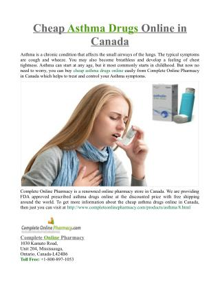 Cheap Asthma Drugs Online in Canada
