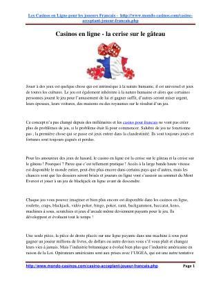 Casinos en Ligne - La Cerise Sur Le Gâteau