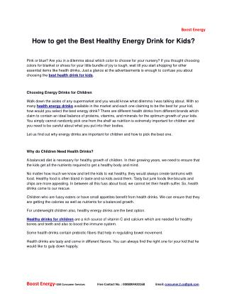 How to get the best healthy energy drink for kids?