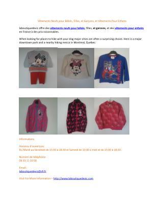 Vêtements Neufs pour Bébés, Filles, et Garçons, et Vêtements Pour Enfants