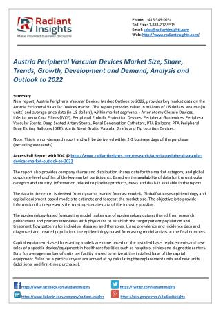 Austria Peripheral Vascular Devices Market Size, Share, Analysis and Outlook to 2022