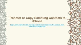Transfer or Copy Samsung Contacts to iPhone
