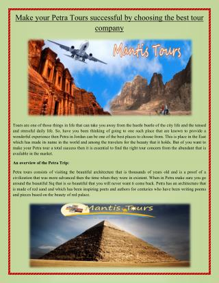 Make your Petra Tours successful by choosing the best tour company