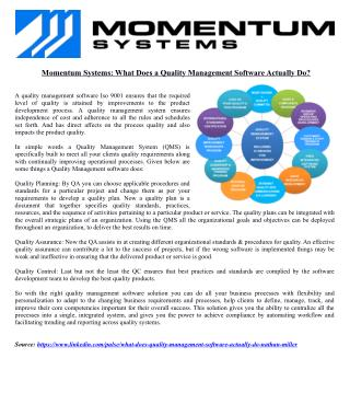 Momentum Systems: What Does a Quality Management Software Actually Do?