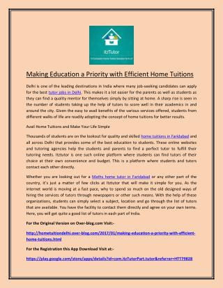Making Education a Priority with Efficient Home Tuitions