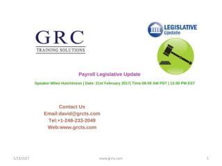Payroll Legislative Update