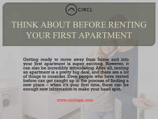 THINK ABOUT BEFORE RENTING YOUR FIRST APARTMENT | CIRCL