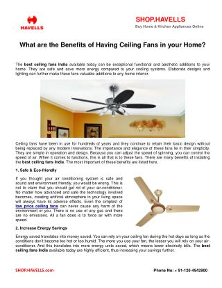 What are the Benefits of Having Ceiling Fans in your Home?