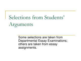 Selections from Students  Arguments