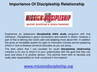 Importance of discipleship relationship