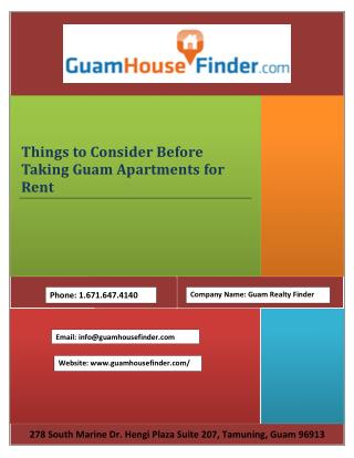 Things to Consider Before Taking Guam Apartments for Rent