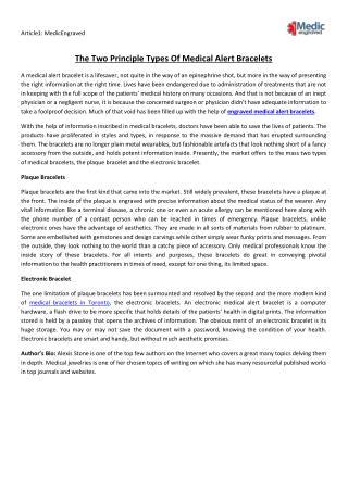 The Two Principle Types Of Medical Alert Bracelets