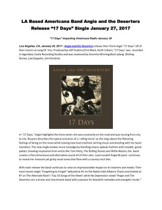 "LA Based Americana Band Angie and the Deserters Release ""17 Days"" Single January 27, 2017"
