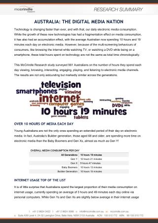 Australia - the Digital Media Nation Report by McCrindle Research