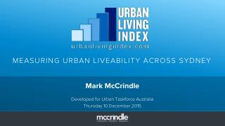 Urban living index McCrindle slideshare
