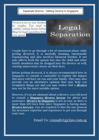 Expatriate Divorce - Getting Divorce in Singapore
