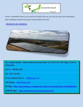 Affordable Residential G C electric solar panel installation service