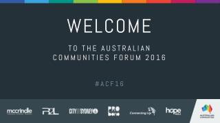 Australian Communities Forum ACF16 2016