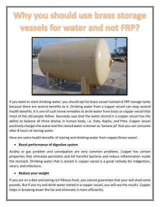 Why you should use brass storage vessels for water and not FRP?