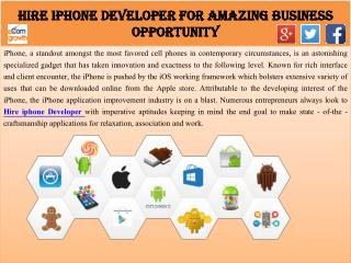Hire iPhone Developer for Amazing Business Opportunity