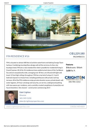 Cayman Residential property for sale - FIN RESIDENCE #16  MLS #406111.