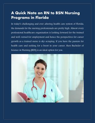 A Quick Note on RN to BSN Nursing Programs in Florida- Azure College