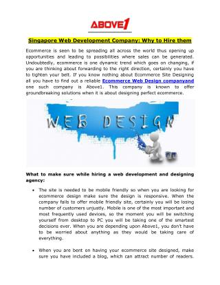 Singapore Web Development Company: Why to Hire them