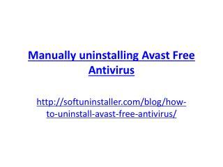 Manually Uninstalling Avast Free Antivirus