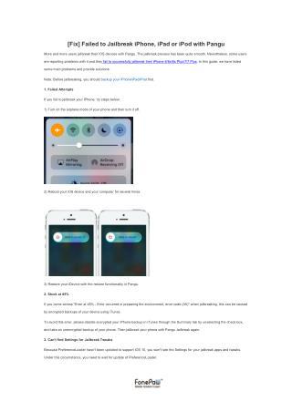 [Fix] Failed to Jailbreak iPhone, iPad or iPod with Pangu