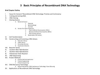 3   Basic Principles of Recombinant DNA Technology