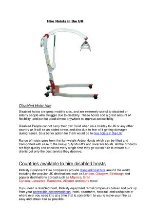 Hire Hoists in the UK